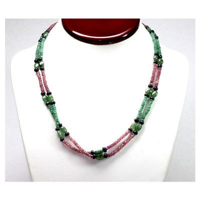 Natural 147.85 ctw Emerald, Ruby Sapphire Bead Necklace