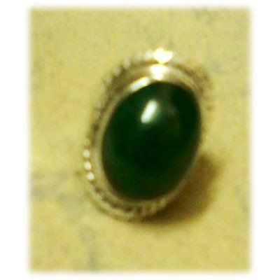 Silver Ring with Emerald Oval Gemstone