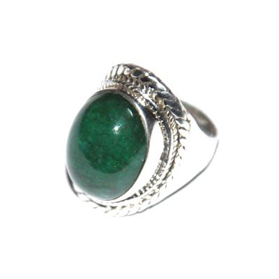 Silver Emerald Oval Mens Ring