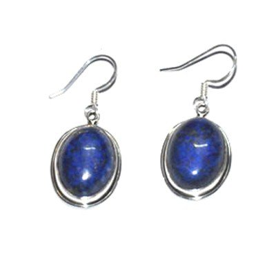 Silver Lapis Oval Earring 23.40ctw