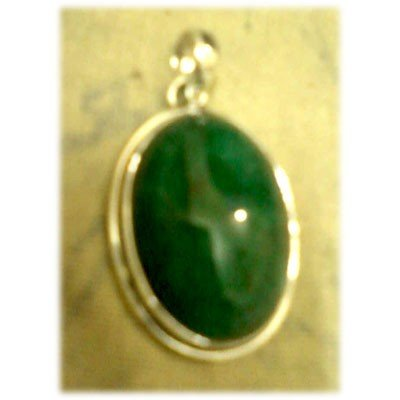 Emerald Gemstone Oval in Silver Pendant