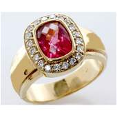Genuine 20 ctw Ruby Diamond Ring 14k WY Gold