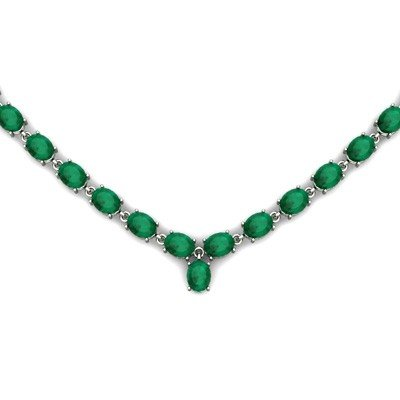 Natural Emerald 51.66ctw Oval Necklace .925 Sterling