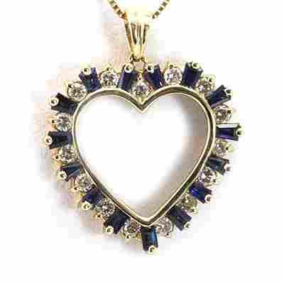 Genuine 0.35ctw Diamond Blue Saphire Heart Necklace 14K