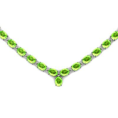 Natural Peridot 55.35ctw Oval Necklace .925 Sterling