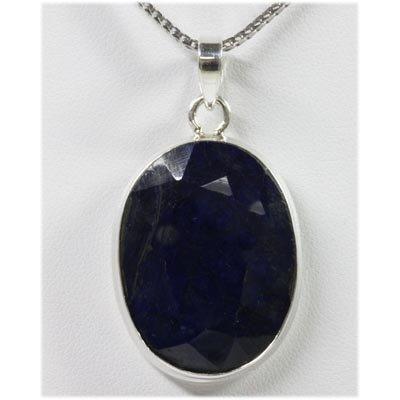 55.73 ctw Dark Blue Sapphire 0.925 Silver Pendant