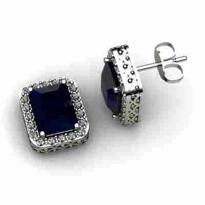 Genuine 3.80 ctw Sapphire Diamond Earring 14k W/Y Gold
