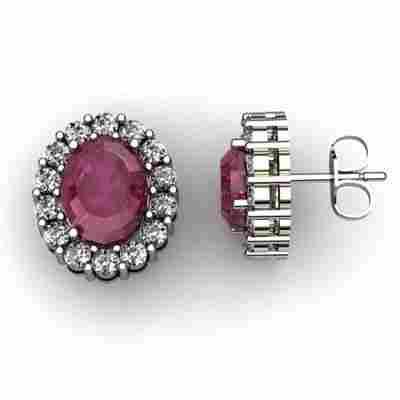 Genuine 3.64 ctw Ruby Diamond Earring 14k W/Y Gold