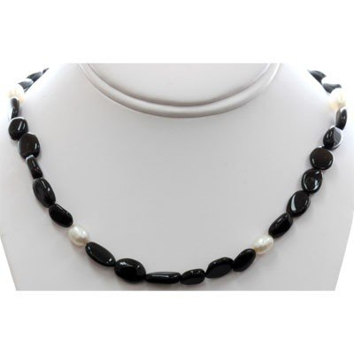 Natural Black Tourmaline and Pearl Beads Necklace