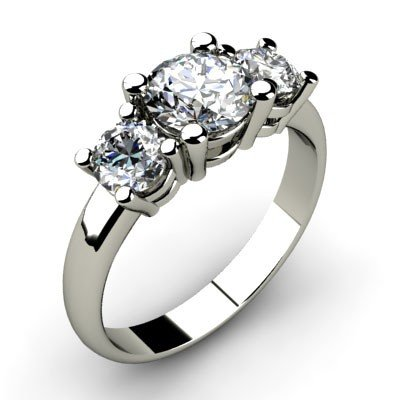 1.00 ctw Round cut Three Stone Diamond Ring, G-H, SI-I