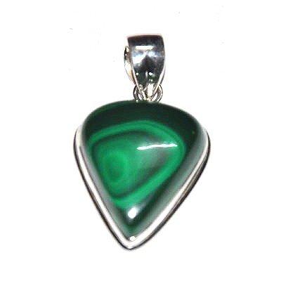 Silver Green Onex Pear Shape Pendant