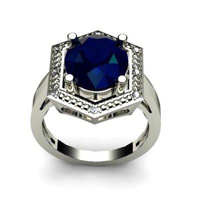 Genuine 6.08 ctw Sapphire Diamond Ring W/Y Gold 14kt