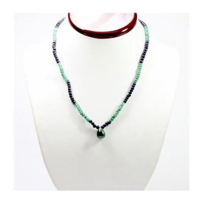 Natural 89.93 ctw Emerald Sapphire Bead Necklace