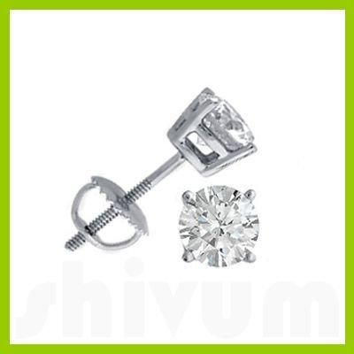 1.00 ctw Round cut Diamond Stud Earrings G-H, VVS