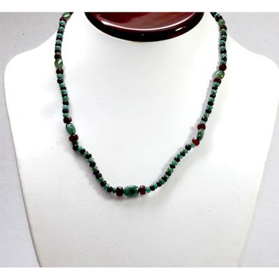 Natural 94.39 ctw Emerald Ruby Sapphire Bead Necklace