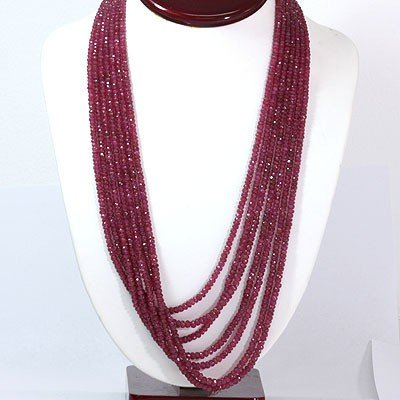 Natural Ruby Necklace 7 Rows Round Cut 785.0 ctw L-7