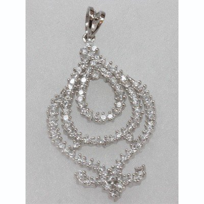 Natural 4.32g CZ Pendant .925 Sterling Silver
