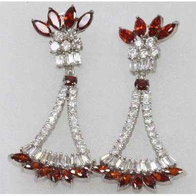 Natural 10.79g CZ Earrings .925 Sterling Silver