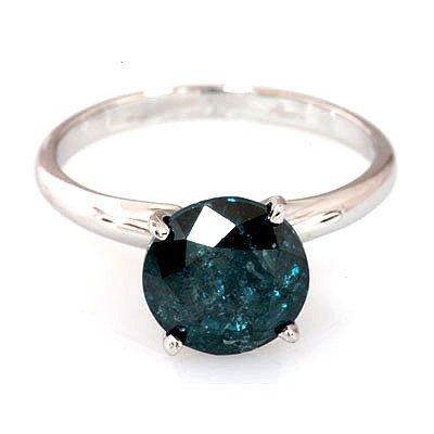 Genuine 1.13 ctw Blue Diamond Ring 14k W/Y Gold
