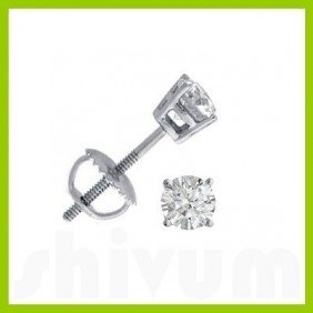 0.50 Ctw Round Cut Diamond Stud Earrings G-H, SI2
