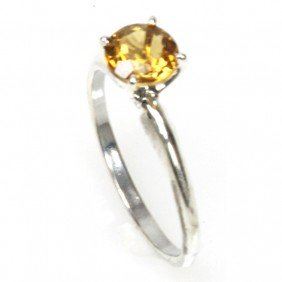 Natural 2ctw Citrine Round Cut .925 Sterling Ring