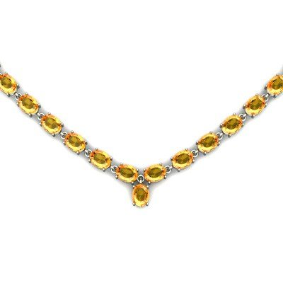 Natural Citrine 51.25ctw Oval Necklace .925 Sterling