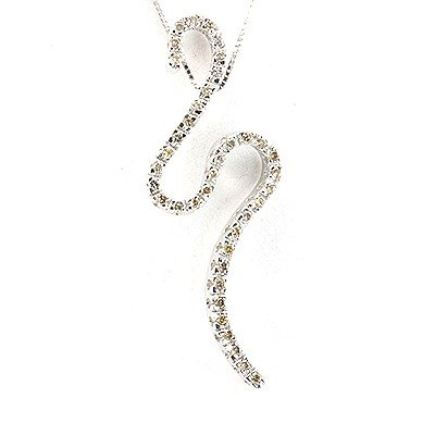 Genuine 0.25 ctw Diamond Necklace 14K White Gold