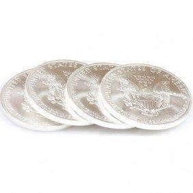 Natural 4 Oz Coin Fine Silver USA (10) One Dollar 2011