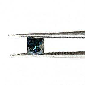 Genuine Blue Loose Diamond Princess Cut 0.78ctw