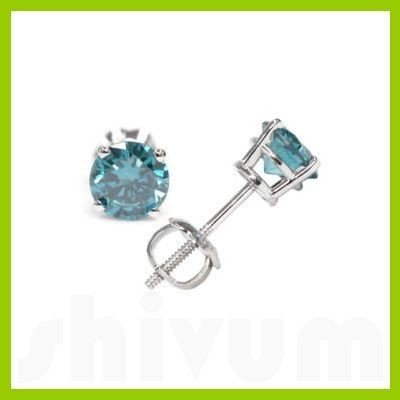 Genuine 2.0 ctw Blue Diamond Stud Earrings 14kt