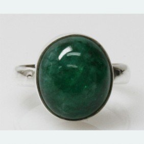 Natural 4.68g Emerald Oval Ring .925 Sterling Silver