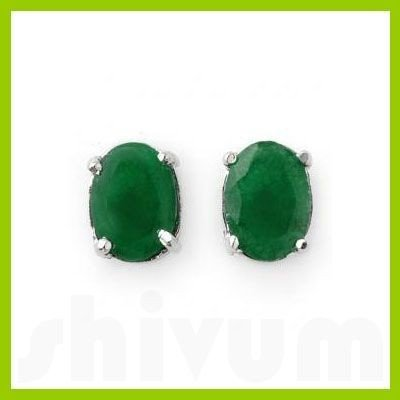 Genuine 3.80 ctw Emerald Oval Cut Stud Earrings 14kt