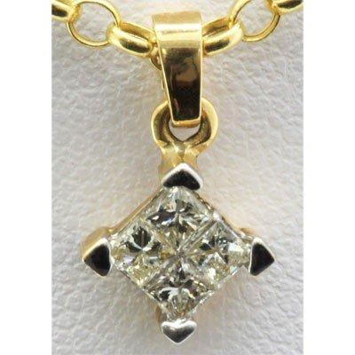 Genuine 0.38 ctw Diamond Square Pendant 14k Y Gold