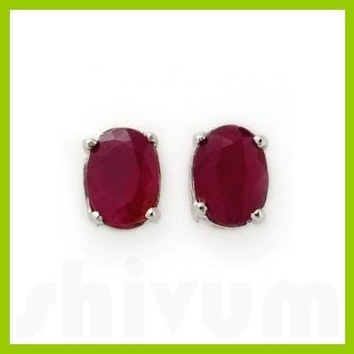 Genuine 3.10 ctw Ruby Stud Earrings 14kt Gold-White