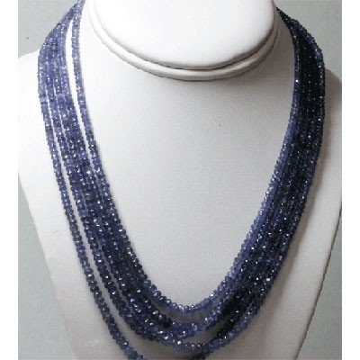 Natural 309.25ctw Tanzanite Graduated 5 Rows Necklace