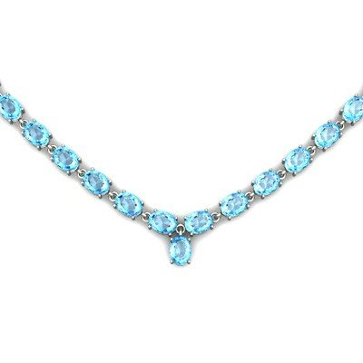 Natural Topaz 65.6ctw Oval Necklace .925 Sterling