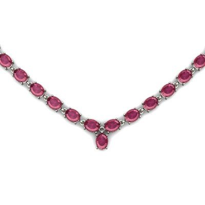 Natural Ruby63.55ctw Oval Necklace .925 Sterling Silver