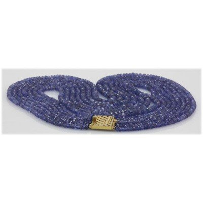 Natural 223.27ctw Tanzanite Graduated 4 Rows Necklace