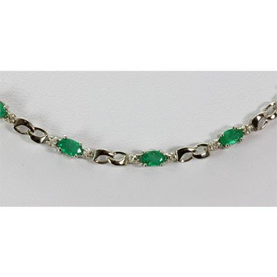 Genuine 6.02 ctw Emerald Diamond Necklace10k W/Y Gold