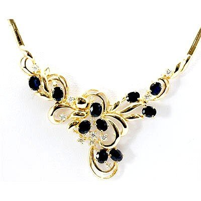 Genuine Diamond Blue Sapphire Flower Necklace 14k