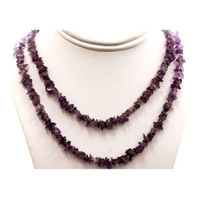 Amethyst uncut beads 265.0 ctw Necklace