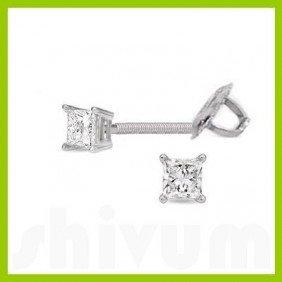 0.50 ctw Princess cut Diamond Stud Earrings I-K, SI-2