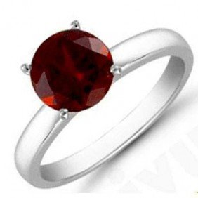 Garnet 1.60 Ctw Solitaire Ring 14kt W/Y  Gold