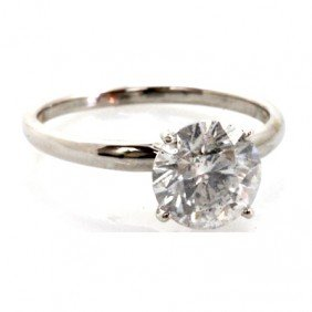 Certified 2.37ctw Diamond 14k White Gold Solitaire Ring