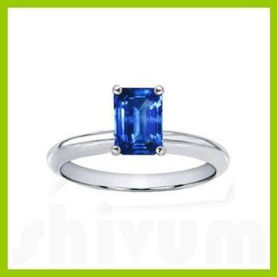 Genuine 1.0 ctw Sapphire Solitaire Emerald Cut 14kt