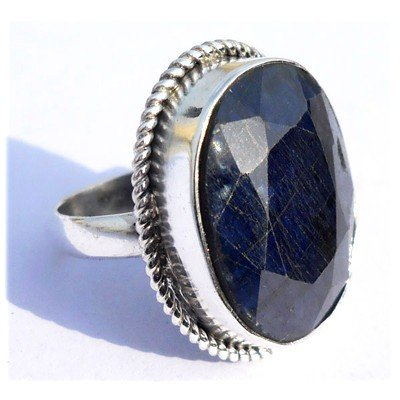 Natural 39.05 ctw Sapphire Oval .925 Sterling Ring