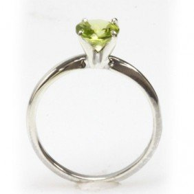 Natural 1.25ctw Peridot Round .925 Sterling Silver Ring