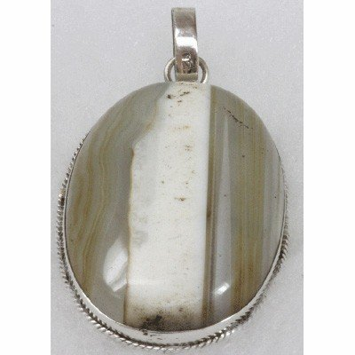 Natural 22.77g Semi-Precious Pendant .925 Sterling