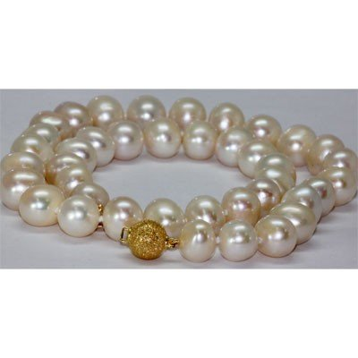 Natural 10-11mm White Freshwater Pearl Necklace 14k