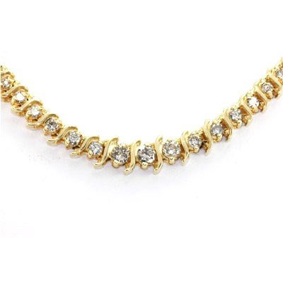 Genuine Diamond Tennis Necklace 3.40 ctw 14KT Gold